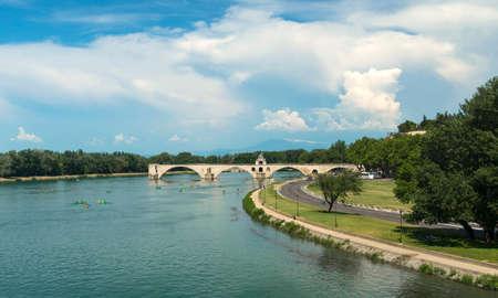 vaucluse: Avignon (Vaucluse, Provence-Alpes-Cote dAzur, France): the river and the famous bridge Editorial