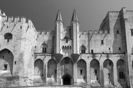 vaucluse: Avignon (Vaucluse, Provence-Alpes-Cote dAzur, France): the medieval Palace of the Popes. Black and white