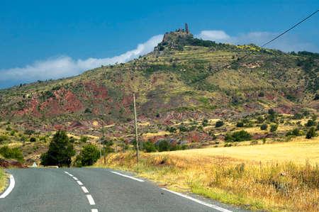 strange mountain: Moureze (Herault, Languedoc-Roussillon, France): mountain road and strange rocks Stock Photo
