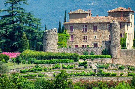 gothic castle: The gothic castle of Bousquet (Herault, Languedoc-Roussillon, France), with garden in Italian style