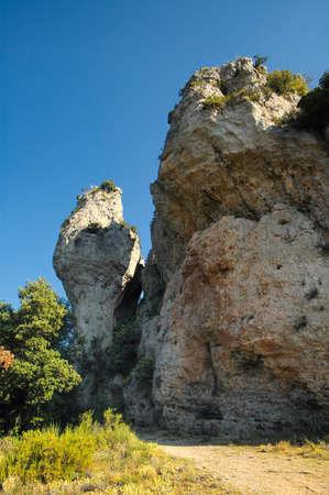 strange mountain: Moureze (Herault, Languedoc-Roussillon, France): strange rocks Stock Photo