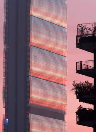 citylife: Milan (Lombardy, Italy): modern tower in Citylife at evening Stock Photo