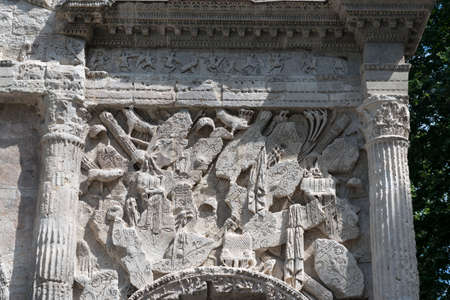 vaucluse: Orange (Vaucluse, Provence-Alpes-Cote dAzur, France): the Roman Arch, detail Stock Photo