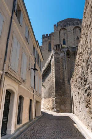 vaucluse: Avignon (Vaucluse, Provence-Alpes-Cote dAzur, France): old street and Palace of the Popes