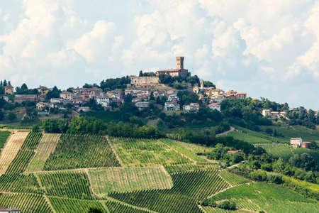 Paesaggio di estate in Oltrepo Pavese (Pavia, Lombardia, Italia) in estate (agosto) con vigneti Archivio Fotografico