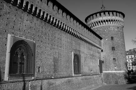 sforzesco: Milan (Lombardy, Italy): exterior of the medieval castle known as Castello Sforzesco (built at end of 15th century). Black and white Editorial