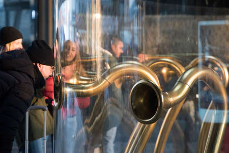 trumpets: Milan (Lombardy, Italy):  people at the trumpets in the Gae AUlenti square Stock Photo