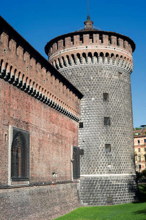 sforzesco: Milan (Lombardy, Italy): exterior of the medieval castle known as Castello Sforzesco (built at end of 15th century)