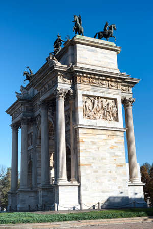 pace: Milan (Lombardy, Italy): historic arch known as Arco della Pace, built at the end of 18th century Stock Photo
