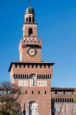 sforzesco: Milan (Lombardy, Italy): exterior of the medieval castle known as Castello Sforzesco (built at end of 15th century). Filarete tower