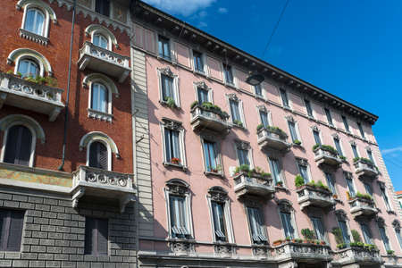 house facades: Milan (Lombardy, Italy): typical residential palace in liberty style