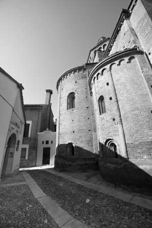 12th century: Pavia (Lombardy, Italy), apse of the medieval church of San Teodoro, built in 12th century. Black and white