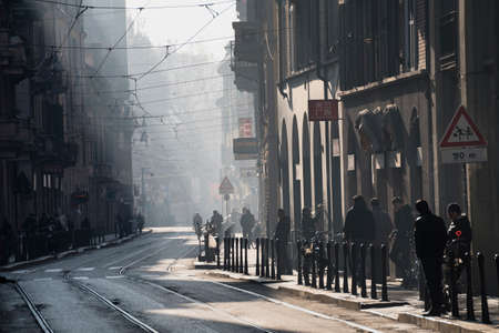 Traffic block in Milan (Lombardy, Italy) due to the smog. A street of Chinatown Stok Fotoğraf