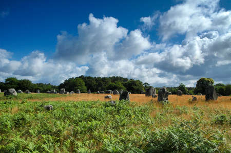 brittany: Carnac, Morbihan, Brittany (France): alignment of menhir Stock Photo