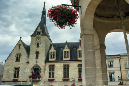 gironde: Libourne (Bordeaux, Gironde, Aquitaine, France): gothic architecture in the main square Editorial