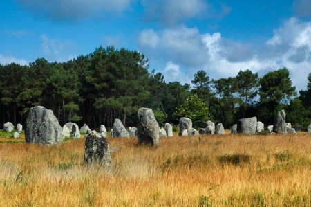 alignment: Carnac, Morbihan, Brittany (France): alignment of menhir Stock Photo