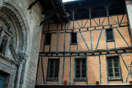 typical: Albi (Tarn, Midi-Pyrenees, France) - Old typical buildings. Church and palace Editorial