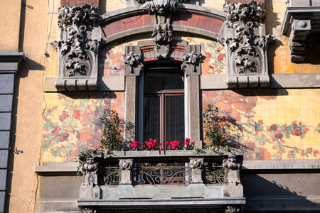 balcony window: Window and balcony with plants and flowers in Milan. Stock Photo