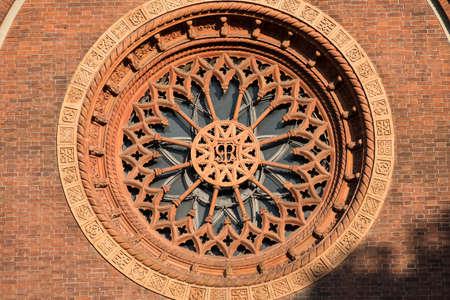 carmine: Milan (Lombardy, Italy): rose window of the medieval Santa Maria del Carmine church Stock Photo