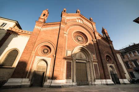 carmine: Milan (Lombardy, Italy): facade of the medieval Santa Maria del Carmine church Stock Photo