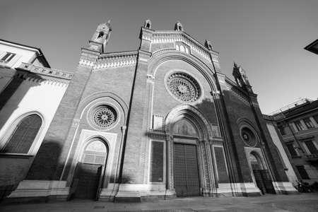 carmine: Milan (Lombardy, Italy): facade of the medieval Santa Maria del Carmine church. Black and white