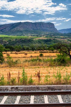 catalunya: Summer landscape with railway in Catalunya (Spain) between Sort and Tremp Stock Photo