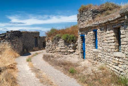 aragon: Almudevar (Aragon, Spain): las bodegas, typical old stone houses