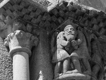 sant joan de les abadesses: Sant Joan de les Abadesses (Catalunya, Spain) - The medieval abbey, detail. Black and white Stock Photo