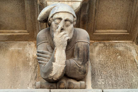 grotesque: Cervera (Catalunya, Spain): historic palace with grotesque statues