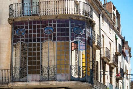 catalunya: Tarrega (Catalunya, Spain): old typical residential building with veranda