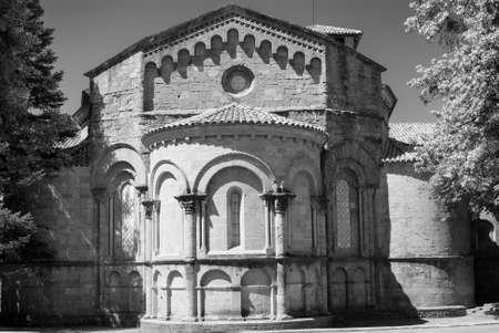 sant joan de les abadesses: Sant Joan de les Abadesses (Catalunya, Spain) - The medieval abbey. Black and white