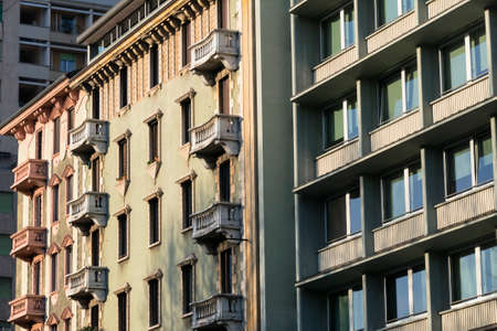 restored: Milan (Lombardy, Italy), facade of restored residential buildings