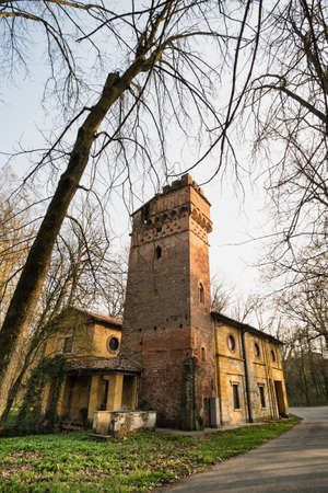 monza: Historic watermill in the Monza Park (Lombardy, Italy) at winter