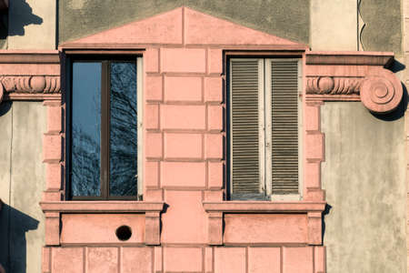 restored: Milan (Lombardy, Italy), facade of restored residential building
