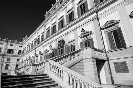 monza: Monza (Brianza, Lombardy, italy): facade of the historic royal palace. Black and white
