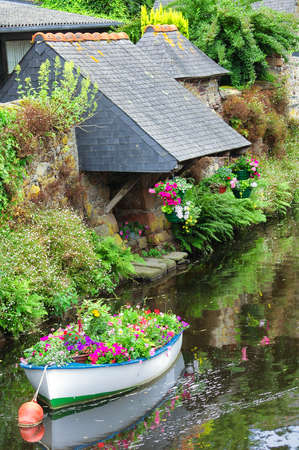 summer trees: Pontrieux (Cotes-dArmor, Brittany, France): boat and flowers