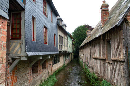 normandy: Pont-lEveque (Calvados, Normandy, France): typical old half-timbered buildings