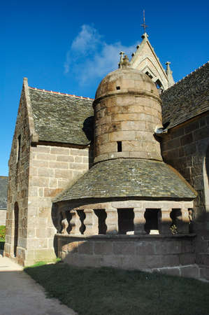calvary: Tregastel (Cotes-dArmor, Brittany, France): the medieval church with the typical stone calvary