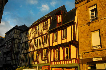 dinan: Dinan (Cotes-dArmor, Brittany, France): facade of old half-timbered buildings at evening