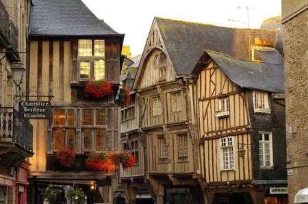 dinan: Dinan (Cotes-dArmor, Brittany, France): facade of old half-timbered buildings at evening