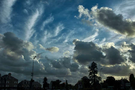 skyscapes: Cloudscape in Avranches (Manche, Normandy, France) in a summer evening