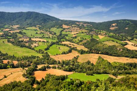 Landscape of the hills of Romagna (Italy)  near Pennabilli (Rimini) at summer