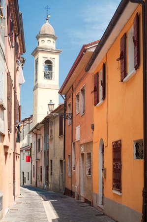 italy street: Sogliano al Rubicone (Forli - Cesena, Emilia-Romagna, Italy) - Street and belfry