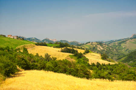 Landscape of the hills of Romagna (Italy)  near Sogliano sul Rubicone at summer