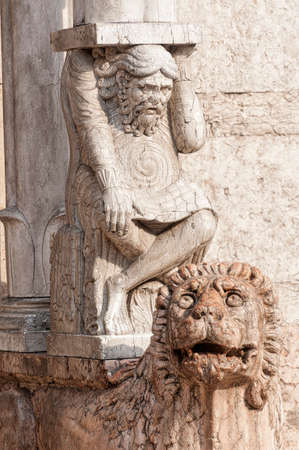 12th century: Ferrara (Emilia-Romagna, Italy) - The cathedral facade, in romanesque style, detail