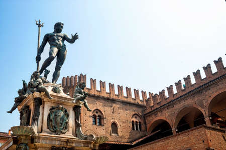 putto: Bologna (Emilia-Romagna, Italy) Neptunes fountain (Gianbologna, 1565) and historic palace Editorial