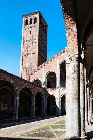 romanesque: Milan (Lombardy, Italy): the medieval church of SantAmbrogio, in Romanesque style. Facade and portico