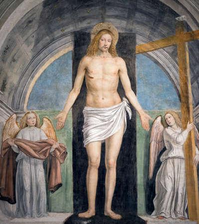 angeli: Resurrection, Gesù Cristo risorto fra due angeli, painting in the SantAmbrogio church in Milan (Lombardy, Italy), by Bergognone (1491)