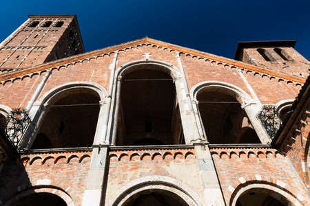 portico: Milan (Lombardy, Italy): the medieval church of SantAmbrogio, in Romanesque style. Facade and portico