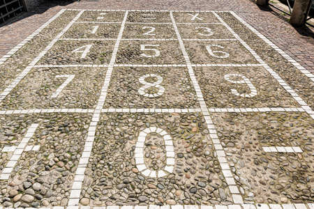cobbles: Milan (Lombardy, Italy): numerical keyboard on a sidewalk with cobbles Stock Photo